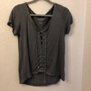 Grey Tie Up T-shirt from American Eagle